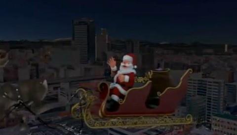 Papa Noel sobrevuela Japón viendo los progresos luego del sismo de este año (video)