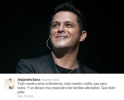 Alejandro Sanz expresa su rechazo al atentado en México