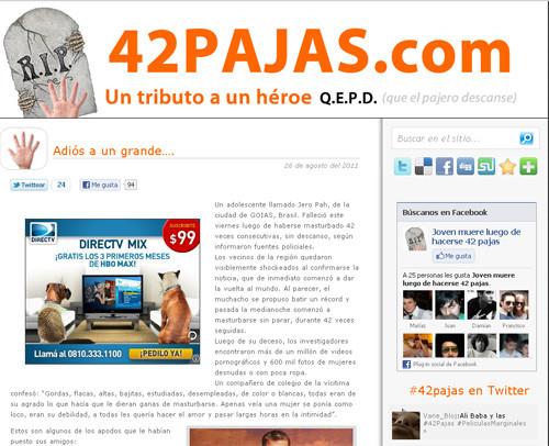 En honor al joven que murió por masturbarse 42 veces seguidas se crea un sitio web.