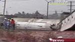 Ate: Tren que llevaba ácido sulfúrico se descarriló y dañó una casa