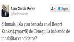 Alan García dice en su cuenta twitter que Ollanta Humala quiere inhabilitar su candidatura de miras a 2016
