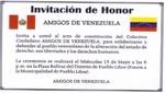 Amigos de Venezuela: Hoy miércoles 6pm, Plaza Bolívar de Pueblo Libre