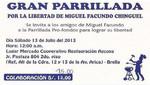 Amigos y familiares de Miguel Facundo Chinguel organizan parrilada pro fondos en favor de su libertad