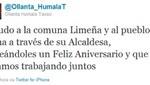 Ollanta Humala saludó a Lima por su aniversario vía Twitter