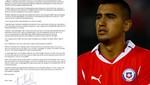 Lea la carta de Arturo Vidal pidiendo disculpas a la selección chilena