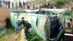 Vuelco de bus deja tres muertos y 28 heridos en Tarma