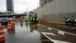 MML evacuó aniegos de Vía Expresa provocado por intensas lluvias y restablece normal tránsito vehicular
