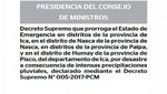 Minsa: Amplían estado de emergencia en distritos de Ica por lluvias intensas