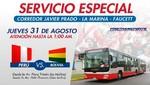 Buses del corredor Javier Prado brindarán servicio especial hasta la 1:00 am por partido Perú - Bolivia