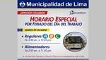 Metropolitano: Conozca el horario especial por feriado del Día del Trabajo