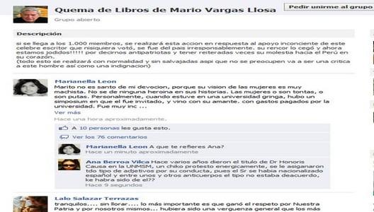 Quema de Libros del Nobel Mario Vargas Llosa