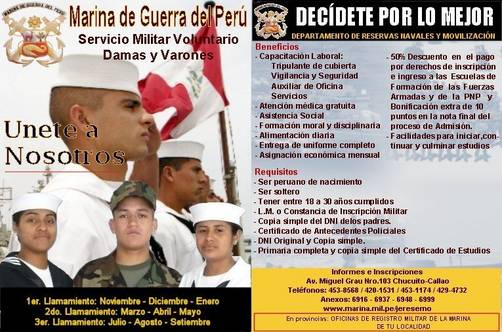 Servicio Militar en la Marina de Guerra del Perú