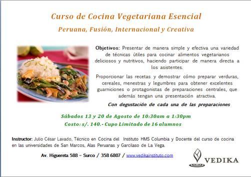 Curso de cocina vegetariana esencial peruana fusi n - Curso de cocina vegetariana ...