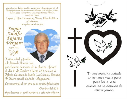 Tarjetas de invitación a misa de un fallecido - Imagui