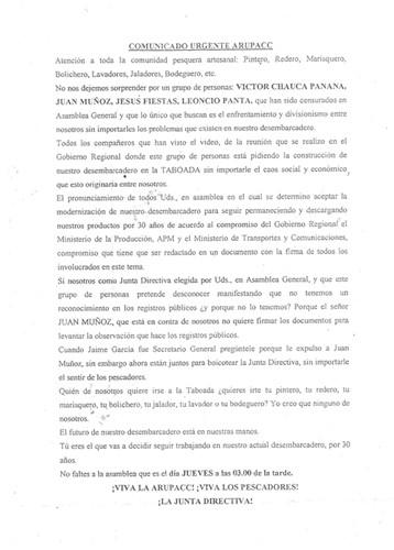 ARUPACC rechaza ahora se haga muelle pesquero en cloaca Taboada