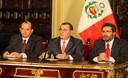 Presidente del Consejo de Ministros, Oscar Valdés en conferencia de prensa en Palacio de Gobierno